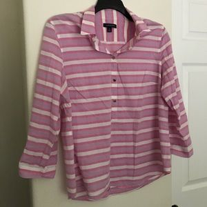 Lands End Purple And Pink Striped 3/4 Sleeve Shirt